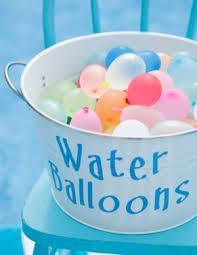 pool party ideas. Water balloons for a water balloon fight. Fun activity for a pool party, keep cool on a hot day.