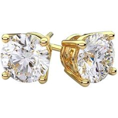 Pre-owned .54 Carat Tw Diamond Solitaire & 14k Yellow Gold Stud... ($850)  liked on Polyvore featuring jewelry earrings accessories yellow gold diamond screw back diamond earrings gold earrings stud earring set screw back earrings and stud earrings