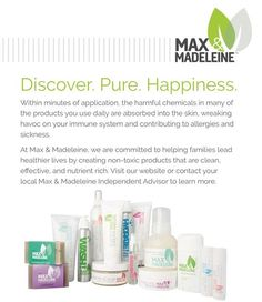 Chemical free products for the entire family. #organic #chemicalfree #nontoxic #pure #groundflooropportunity #skincare #maxandmadeleine