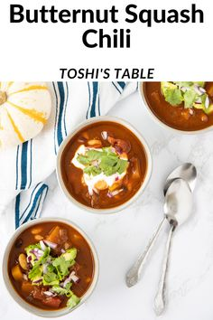This vegan butternut squash chili is so cozy and delicious! Veggie Recipes Healthy, Healthy Comfort Food, Easy Soup Recipes, Healthy Soup Recipes, Chili Recipes, Healthy Cooking, Fall Recipes, Healthy Eats, Vegetarian Soup
