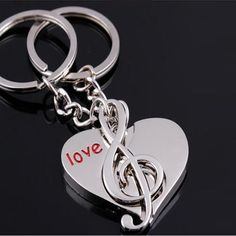 Customize Special Lovers Keychain COUPLES KEY RING CIRCLE MUSIC NOTE & HEART LOVE