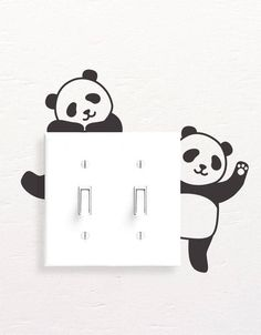 Panda Wall Decals, Panda Light Switch Decal, Simple Panda Vinyl Wall Decal, Panda Stickers, Light Switch Sticker - Best Painting Ideas For Beginners Simple Wall Paintings, Creative Wall Painting, Wall Painting Decor, Diy Wall Art, Diy Wall Decor, Home Decor Wall Art, Yoga Decor, Wall Decor Stickers, Vinyl Wall Decals