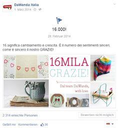 Facebook DaWanda (Milestone for 16.000 fans)