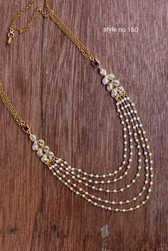 Beautiful one gram gold long haaram with multi layer bead chains. - Beautiful one gram gold long haaram with multi layer bead chains. Gold Chain Design, Gold Jewellery Design, Indian Gold Jewellery, Designer Jewellery, India Jewelry, Bridal Jewelry, Beaded Jewelry, Jewelry Necklaces, Zales Jewelry