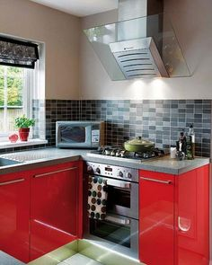Red Color Can Revolutionize Small Kitchen Design | Red kitchen ...