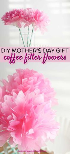 If you need DIY Mother's Day gifts or DIY Mother's Day crafts, you'll love these easy coffee filter flowers. They make a great DIY Mothers Day gift from kids and are also a simple spring craft for kids. If you're looking for coffee filter crafts for kids or summer crafts for kids, you'll love these easy paper flowers diy. Even if you need paper flower party decorations, these easy coffee filter flowers are perfect. #craftsforkids