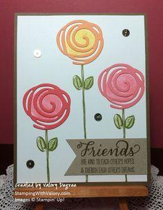 Stampin' Up! Garden In Bloom set, Swirly Scribbles Thinlits Dies, Flirty Flamingo and Peekaboo Peach 2016-2018 In Colors.