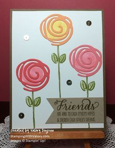 Stampin' Up! Garden In Bloom set, Swirly Scribbles Thinlits Dies, Flirty Flamingo and Peekaboo Peach 2016-2018 In Colors.