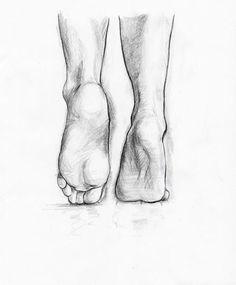 Feet pencil sketch study the form
