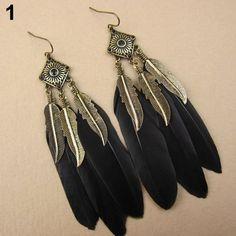 Cheap Earrings, Dangly Earrings, Vintage Earrings, Moda Boho, Feather Jewelry, Feather Earrings, Fashion Earrings, Fashion Jewelry, Women Jewelry