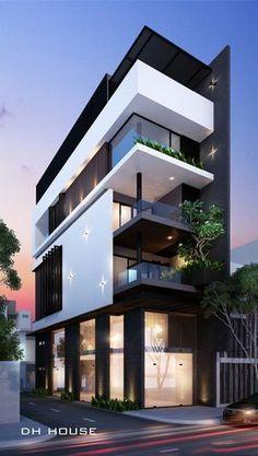 Minimalist House 85 Design: Pin De Anand S En Building Plan Minimalist House Design, Modern House Design, Building Facade, Building Design, Building Exterior, Facade Design, Exterior Design, House Front Design, Dream House Exterior