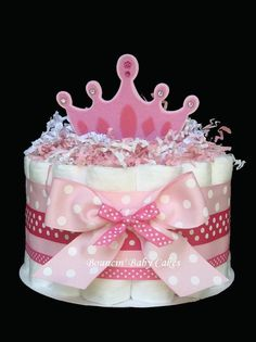 1 Tier Little Princess Baby Shower Diaper Cake/ Centerpiece Gift