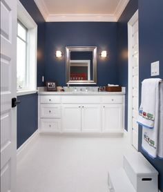 Exquisite kids bathroom in blue and white