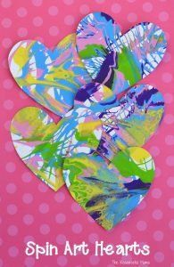 These spin art hearts create a stunning and colorful process art activity for Valentine's Day. Valentine's Day Crafts For Kids, Valentine Crafts For Kids, Valentines Day Activities, Valentines Day Hearts, Valentines Day Decorations, Valentines For Kids, Craft Activities For Kids, Diy Arts And Crafts, Preschool Crafts