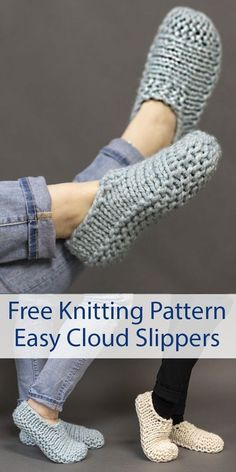 Free Knitting Pattern for Easy Cloud Slippers Knit Flat - Easy beginner slippers. Knitting , Free Knitting Pattern for Easy Cloud Slippers Knit Flat - Easy beginner slippers. Free Knitting Pattern for Easy Cloud Slippers Knit Flat - Easy beg. Knit Slippers Free Pattern, Knitted Slippers, Slipper Socks, Knitted Bags, Free Crochet Slipper Patterns, Crochet Slipper Boots, Knitted Bunnies, Crochet Shoes Pattern, Super Bulky Yarn