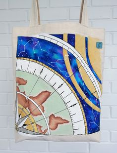 Cosmic bag with handpainted, Designed bag, Astrological bag Acrylic Paint On Fabric, Fabric Painting, Reflection About Life, Cotton Pictures, Cosmic, Reusable Tote Bags, Hand Painted, Sewing, Handmade