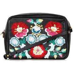 Topshop Floral Embroidery Crossbody Bag found on Polyvore featuring bags, handbags, shoulder bags, black multi, leather cross body handbags, vintage handbags, vintage leather purse, vintage leather handbags and leather crossbody purse