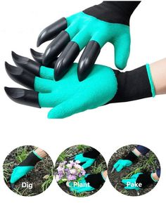 High-quality Gardening Digging Gloves Planting Rubber Left Hand Claws and Right Hand Claws Grip Gloves - NewChic Mobile Traditional Gardening Tools, Plant Bags, Chrysanthemum Flower, Bonsai Plants, Garden Plants, Rockery Garden, Succulents Garden, House Plants, Work Gloves