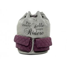 "LE #PANDORINE - Borsa zaino CLOUDY PACK ""Ridere..."" in suede - Grigio - Elsa-boutique.it <3"