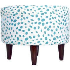 The Sole Secret Coastal Blue Dots Round Ottoman (£53) ❤ liked on Polyvore featuring home, furniture, ottomans, round ottoman, round furniture, polka dot furniture, round footstool and circular ottoman