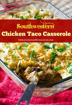 Southwestern Chicken Taco Casserole covers all the basics of being a comfort food, hearty, flavorful and cheesy. Green onions, fresh cilantro, diced tomatoes, sour cream and more make this recipe irresistible! #chickencasserole #Southwestern #chicken Southwestern Chicken, Chicken Tacos, Chicken Taco Casserole, Chicken Soup, Enchilada Casserole, Casserole Dishes, Casserole Recipes, Mexican Dishes, Mexican Food Recipes