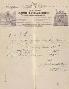 Kilde: Bergen Byarkiv  Gamle brev med flotte brevhoder finner vi mange av i arkivene. Her et fint eksemplar, fra Det Private Ingeniør- og Oppmaalingskontor i Bergen. Brevet er datert i mai 1884, og gjelder forøvrig en oppmåling av Nygårdsparkens tomt, og er fra arkivet etter Nygaards Parkselskap.