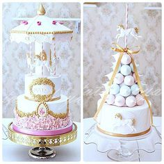 These are great to use as centerpieces Pretty Cakes, Beautiful Cakes, Amazing Cakes, Girly Cakes, Fancy Cakes, Carousel Cake, Carousel Party, Carousel Birthday Parties, Crown Cake