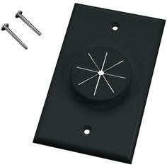 MIDLITE 1GBK-GR1 Single-Gang Wireport(TM) Wall Plate with Grommet (Black)