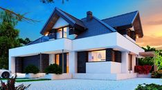 Alicja X 2G - zdjęcie 2 Home Fashion, Planer, Beautiful Homes, Exterior, Mansions, Houses, House Styles, Home Decor, Small Modern House Plans