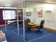 Europa Communications opted for Acoustic Laminated Glazing including a full-height framed door in order to maximise the space and light in their office whilst minimising distractions due to noise. Stylish and functional. Glass Office Partitions, Glass Partition, Acoustic, Doors, Space, Stylish, Table, Projects, Furniture