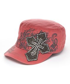 Loving this Original Cowgirl Clothing Co. Red Rhinestone Cross Baseball Cap on #zulily! #zulilyfinds