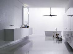 Boffi kitchens – bathrooms - love the floor and wall tiles Boho Bathroom, Bathroom Rugs, White Bathroom, Bathroom Furniture, Modern Bathroom, Downstairs Bathroom, Minimalist Bathroom, Big Bathrooms, Bathroom Pictures