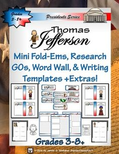 Thomas Jefferson  Mini Research Fold-Ems, Word Wall, & Writing Templates and Extras $5.99 at TpT