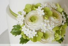 Ranunculus, hydrangea, filler flowers, buds and leaves...by Petalsweet.