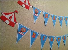 Personalized Carnival or circus themed happy birthday banner. $35.00, via Etsy.