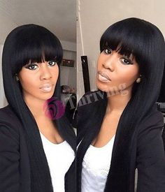 Remy Brazilian Hair Natural Black Full Lace Human Hair Wigs With Bangs Silk Straight Human Hair Wigs Free DHL Shipping Long Bob Hairstyles, Hairstyles With Bangs, Weave Hairstyles, Pixie Haircuts, Curly Hair Styles, Natural Hair Styles, Wigs With Bangs, Full Bangs, My Hairstyle