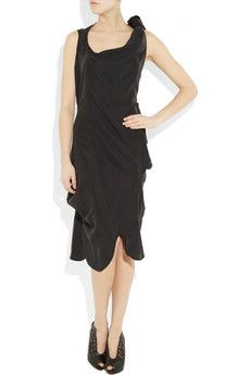 $660 Vivienne Westwood dark grey silk-blend draped and knotted dress