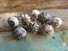 Classic & Vintage Ceramic Knobs – Ideal for Doors, Drawers, Wardrobes Shades Of White, Grey And White, Ceramic Door Knobs, Pastel Grey, Cupboard Knobs, Vintage Ceramic, Upcycle, Stripes, Ceramics