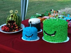 Monster cake and monster watermelon