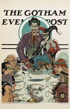 Joker, Harley, and friends - Gotham Evening Post by Mark DosSantos