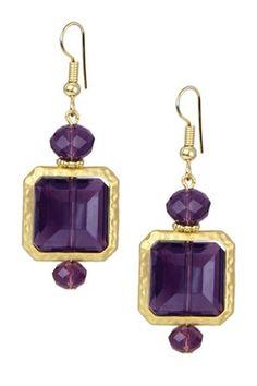 Purple Matte Gold-Tone Square Drop Earrings