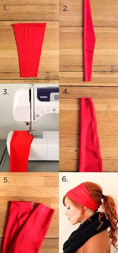 15 Cute DIY Headband Tutorials - extra wide headband for a casual, sassy look Sewing Hacks, Sewing Tutorials, Sewing Crafts, Sewing Projects, Sewing Patterns, Sewing Diy, Diy Clothing, Sewing Clothes, Diy Headband