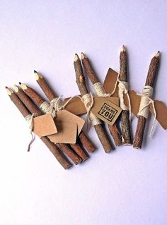 Twig Pencils with Twine and Tags by raemj on Etsy, $16.80