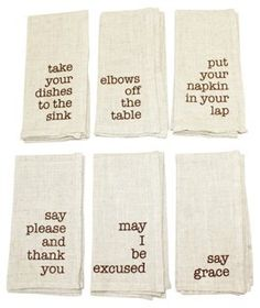 S/6 Mind Your Manners Napkins