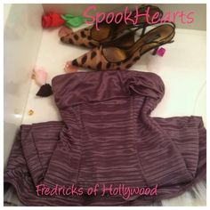 -Fredrick's of Hollywood lavender dress Xsmall zip up back dress so stunning ! The bottom has extra lining to make the dress more full and gives it a pouf ! Beautiful feels like satin silk dress Fredrick's of hollywood is an incredible great material line or lingerie  dance wear of all sizes this is a tube dress petite xsmall very girly! ••Add Any item save 20% Frederick's of Hollywood Dresses Mini