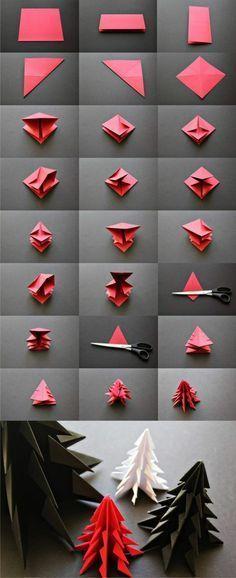 décoration-de-noël-sapin-en-origami-technique-de-pliage-papier-facile