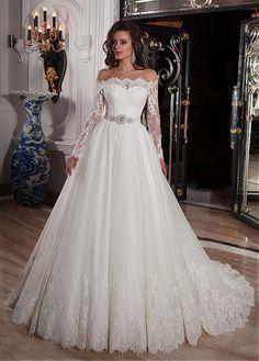 comprar Elegante Tulle fuera del hombro escote del vestido de bola vestidos de boda con apliques de encaje de descuento en Dressilyme.com
