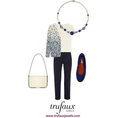 Adorn this navy-and-white cardigan with this lapis bead and chrome Art Deco necklace for an office-ready outfit.
