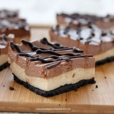No-Bake Chocolate Peanut Butter Cheesecake Bars taste just like eating a peanut butter cup. Perfect for those days when you don't want to turn on the oven.