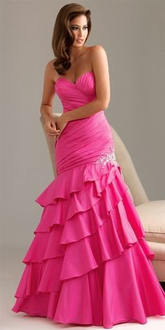 Strapless Hot Pink Mermaid Prom Dress